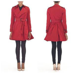 Women Red Trench Coat Rain Coat Nova check Pleated